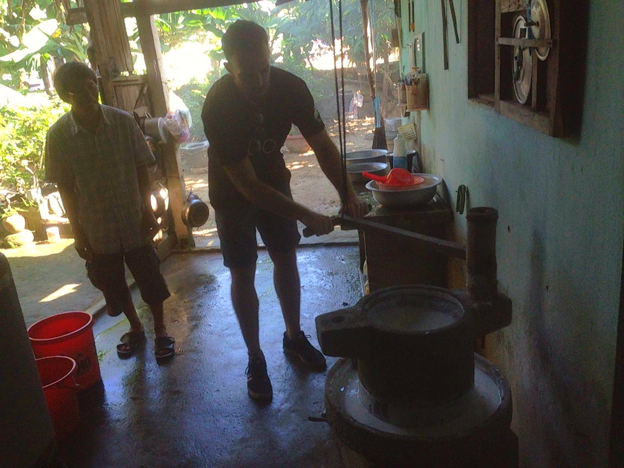 making some rice paste