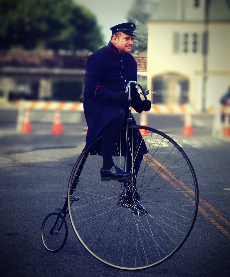 what was unusual about the penny farthing bicycle