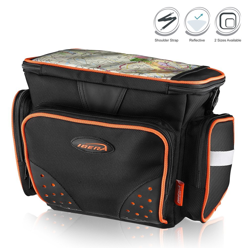 Ibera Bike Handlebar Bag, All-Weather Map Sleeve with Padded Shoulder Strap